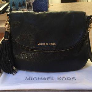 Michael Kors Black Leather Bedford Tassel Bag